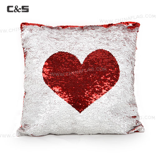 Red & White Heart Sequins Cushion