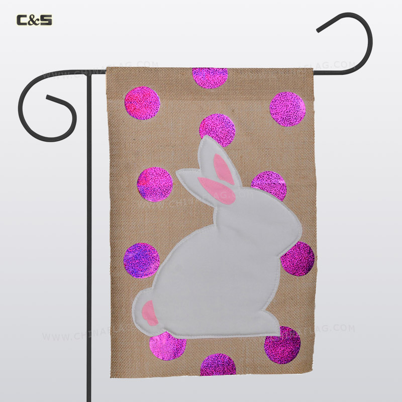 Rabbit linen Garden Flag